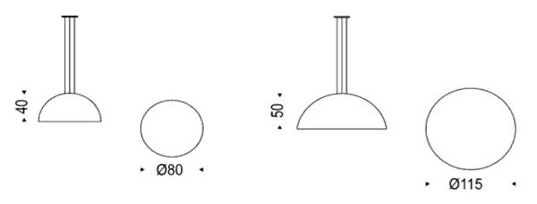 Medidas lámpara de diseño Cupolone Cattelan Italia