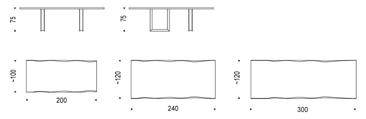 Medidas mesa de diseño Sigma Cattelan Italia