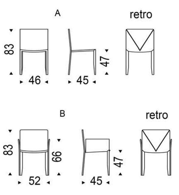 Medidas silla de comedor Piuma Cattelan Italia