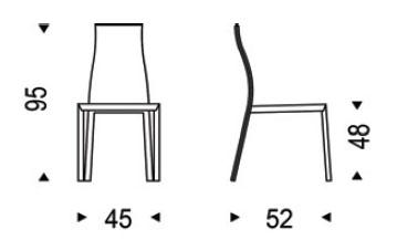 Medidas silla de cuero Kaori Cattelan Italia