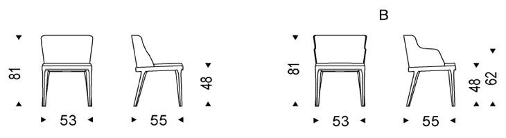 Medidas silla de piel Magda Cattelan Italia