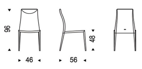 Medidas silla de piel Maya Flex Cattelan Italia