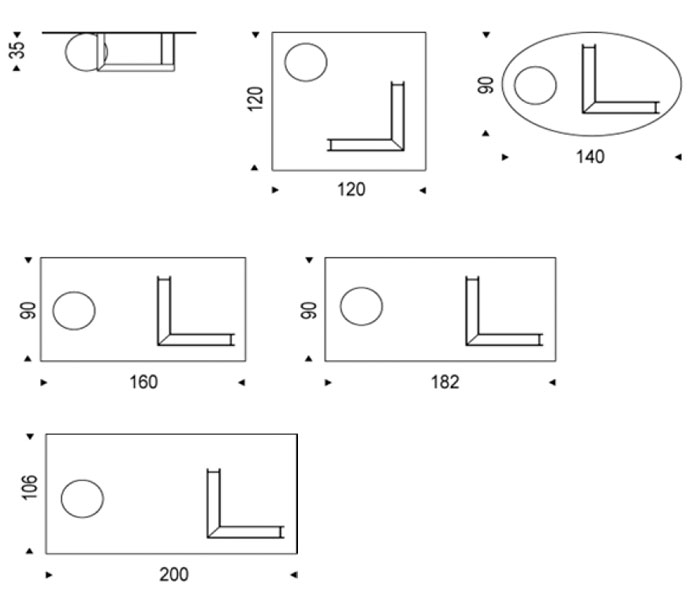 Diagrama mesa de centro Levante de Cattelan Italia