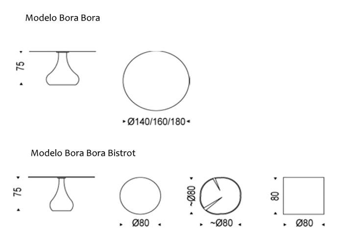 Diagrama mesa Bora Bora de Cattelan Italia