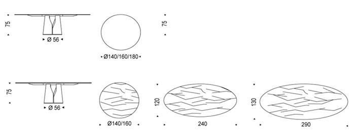 Diagrama mesa Giano de Cattelan Italia