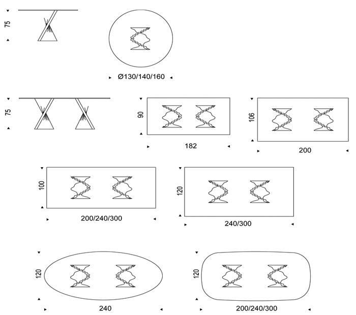 Diagrama mesa Plisset de Cattelan Italia