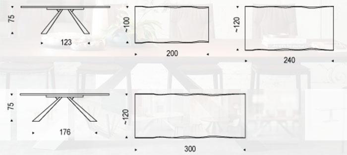 Diagrama mesa de comedor Eliot Wood de Cattelan Italia