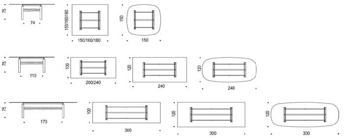 Diagrama mesa de comedor Jerez de Cattelan Italia