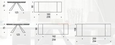 Diagrama mesa extensible Eliot Drive de Cattelan Italia