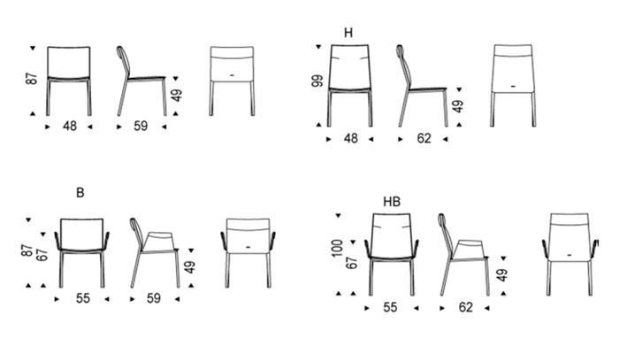 Diagrama silla de comedor Isabel de Cattelan Italia