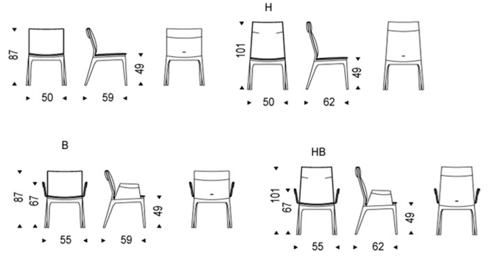 Diagrama silla de comedor Tosca de Cattelan Italia