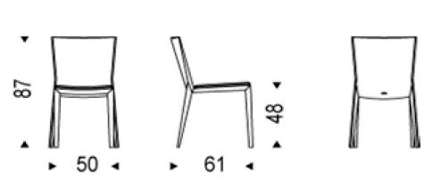 Diagrama silla de diseño Vittoria de Cattelan Italia