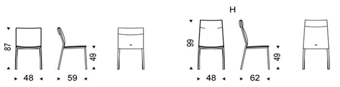 Diagrama silla de piel Isabel ML de Cattelan Italia