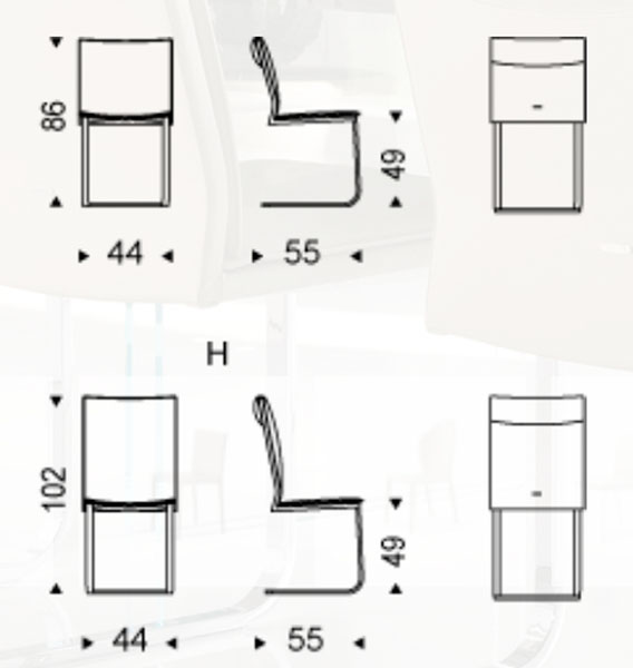 Diagrama silla de piel Liz de Cattelan Italia