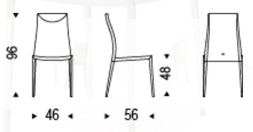 Diagrama silla de piel Maya Flex ML de Cattelan Italia