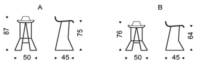 Diagrama taburete alto Pepe de Cattelan Italia