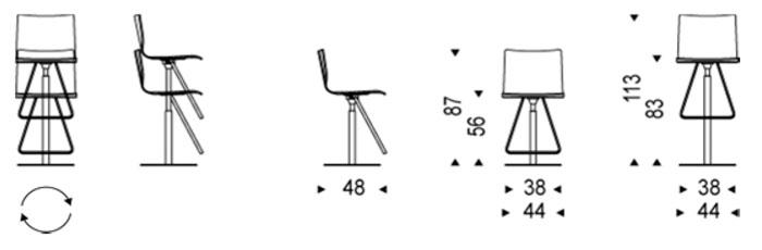 Diagrama taburete giratorio Toto de Cattelan Italia