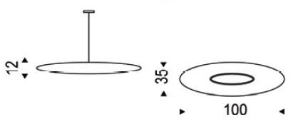 Diagrama de lámpara de suspensión Astra de Cattelan Italia