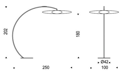 Diagrama de lámpara de suelo Astra Arc de Cattelan Italia