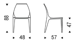 Diagrama de silla Beluga de Cattelan Italia