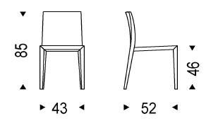 Diagrama de silla Brigitta de Cattelan Italia