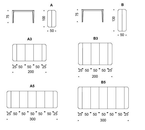 Diagrama con las medidas de la consola Nemo extensible de Cattelan Italia