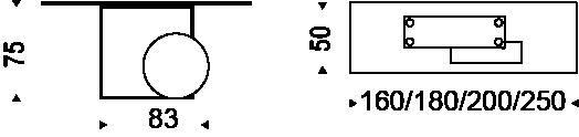 Diagrama de las medidas de la Consola Museum de Cattelan Italia