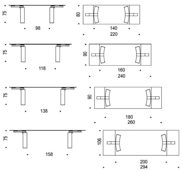 Diagramas de mesa de diseño Daytona de Cattelan Italia