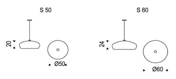 Diagrama de lámpara de suspensión Hublot de Cattelan Italia