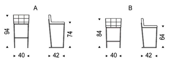 Diagrama de taburete Kate sgabello de Cattelan Italia