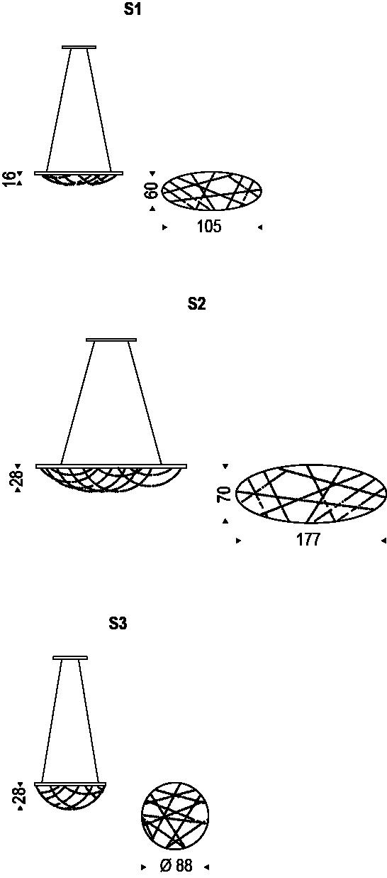 Medidas lámpara Cristal