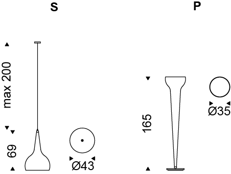 Medidas lámpara Byblos