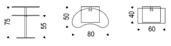 Diagrama de mesita Lap de Cattelan Italia