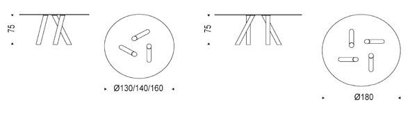 Diagrama de mesa Ray de Cattelan Italia