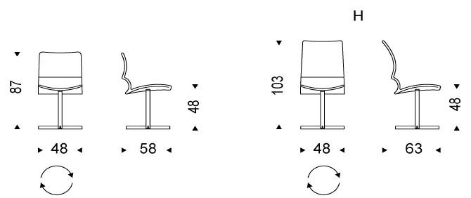 Medidas silla moderna Vita de Cattelan Italia para comedor