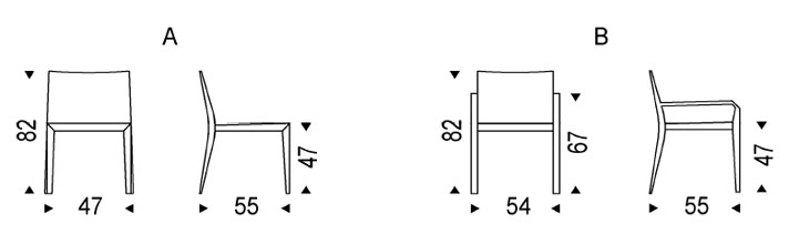 Silla de comedor athena con o sin brazos cattelan italia for Medidas silla comedor