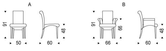 Medidas silla comedor piel Lulú Cattelan Italia