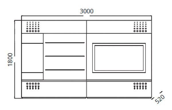 Diagrama mueble de TV Teknicaa 910 de Clara Home