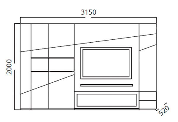 Diagrama mueble de TV Teknicaa de Clara Home