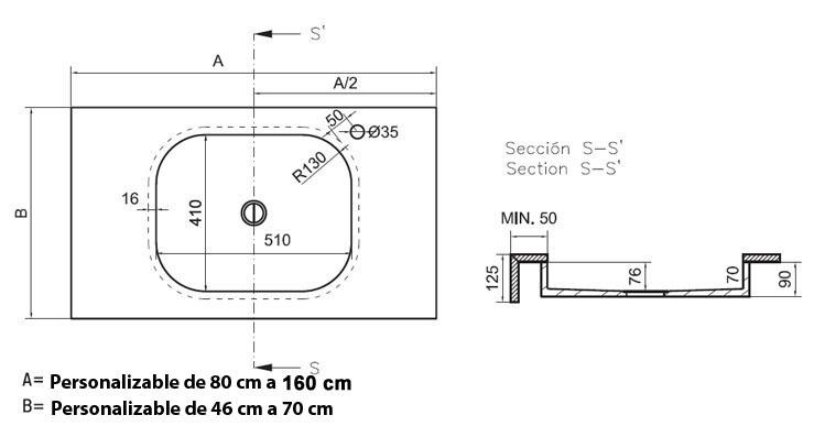 Lavabos Para Baño Medidas:Lavabo baño con encimera Exclusive Silestone® by Cosentino