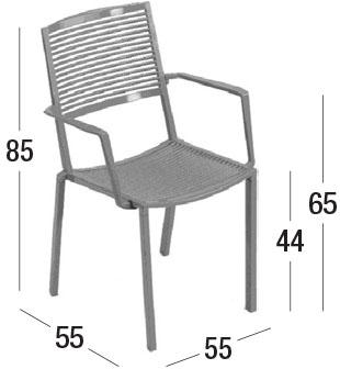 Diagrama de dimensiones silla Easy con brazos