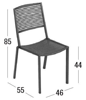Diagrama de dimensiones silla Easy sin brazos