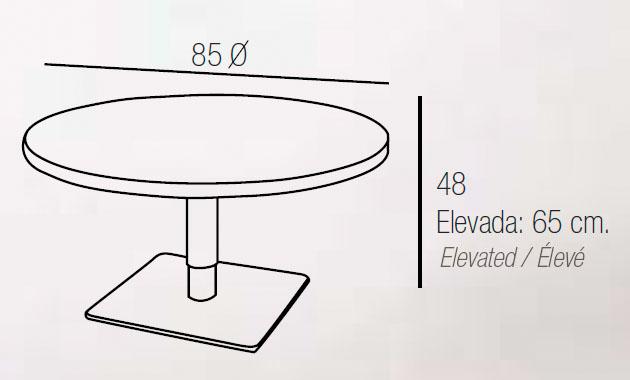 Diagrama mesa de centro elevable Eolo de Dissery