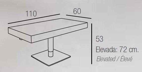 Diagrama mesa de centro elevable Eolo rectángulo de Dissery