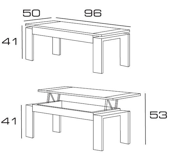 Diagrama mesa de centro elevable Glonn de Dissery