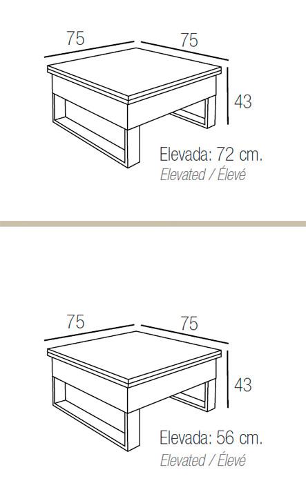 Diagrama mesa de centro elevable Vulcano de Dissery