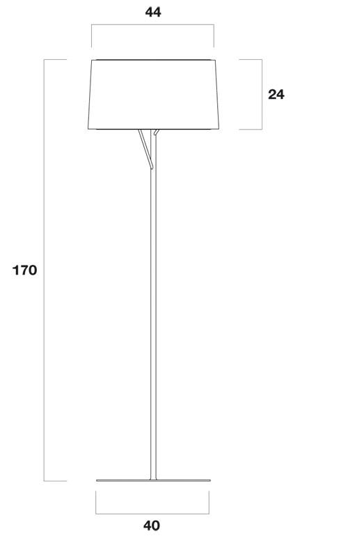 Diagrama de medidas lámpara Eda de pie