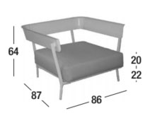 Medidas sillón Aikana, modelo con brazos
