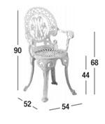 Dimensiones silla Narcisi con brazos