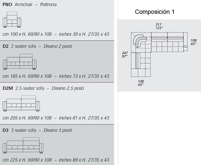 Diagrama sofá Herman de Gamma